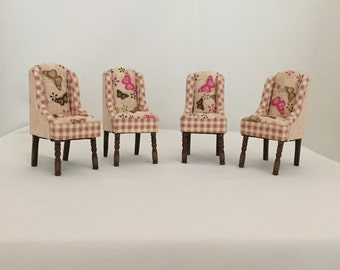 Dollhouse Miniature Upholstered Dining room furnish: Handmade captain chairs.