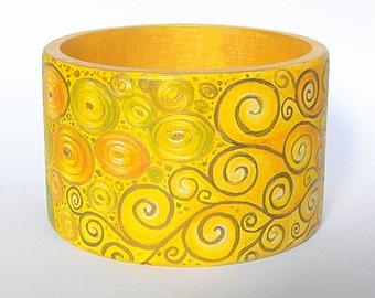 hand painted wooden bracelet