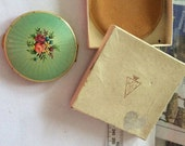 Exquisite gold tone and guilloche enamel Kigu compact with original pouch, box and unused contents