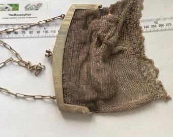 Art Deco silver chain mail evening bag needs TLC