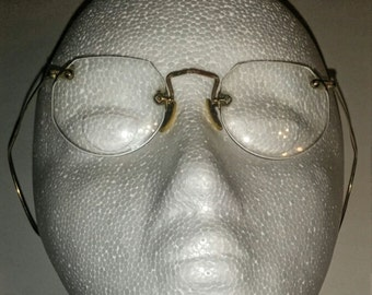 Vintage Fulvue Ful Vue Welfex 1/10 12k Gold Filled Rimless Glasses, Bifocals, Spectacles with Hard Case, Flexible Wire Ear Loops.