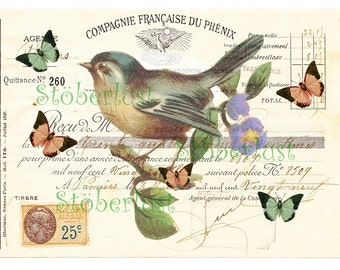 INSTANT DOWNLOAD french vintage bill handwriting with stemp and marks with a bird an butterflies