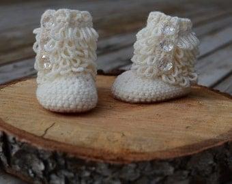 Crochet Baby booties, Loopy Booties, Baby Booties, Jewel Booties, Baby girl Booties