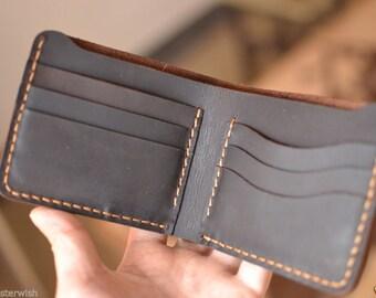 handgefertigte brieftasche mens ledergeldbeutel hand nähen brown bifold brieftasche geschenk für männer brieftasche vintage - g
