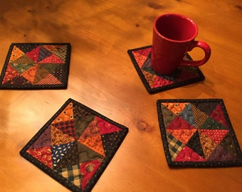 Primitive Patchwork Mug Rugs / Quilted Coasters / Scrappy Mug Rugs / Item # 1339