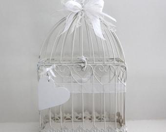 Bird Cage Card Holder. Wedding Card Holder. White