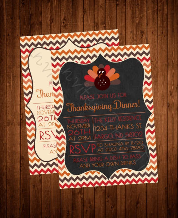 Cute Turkey Thanksgiving Invite