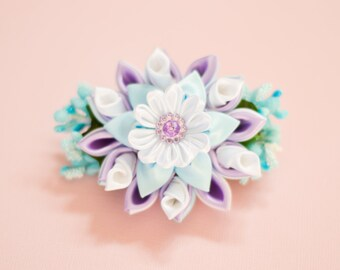 Handmade Purple,Blue,White Clip with Kanzashi Flower