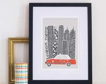 Hong Kong City Print, Skyscrapers, Skyline, Travel Decor, Mid Century Modern, Prints Illustrations, Architecture Buildings, Housewarming
