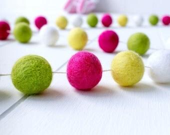 Wool Felt Ball Garland. Pink Yellow Green Pom Pom Garland. Girls Room Decor. Nursery Bunting. Birthday Party Garland Nursery Decor Baby Prop
