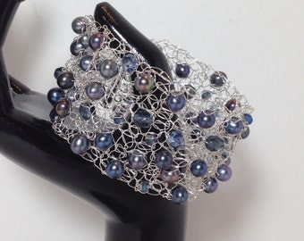 Statement Bracelet Cuff, Blue Cultured Freshwater Pearl, Blue Faceted Glass, Non-Tarnish Silver Plated Wire, Wire Crochet