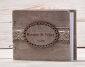 Guest Book Custom Wood Wooden Wedding Guest Book Modern Mongram Guestbook Laser Engraved Names Bride and Groom Vow Book