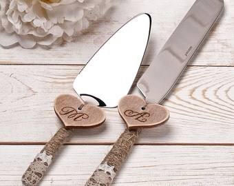 Wedding Cake Server and Knife Rustic Wedding Cake Serving Set Personalized Cake Server Set Outdoor Wedding Cutting Set Rustic Knife Set