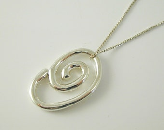 "Silver necklace pendant spiral swirl design sterling silver 16 1/2"" long 6.7g"