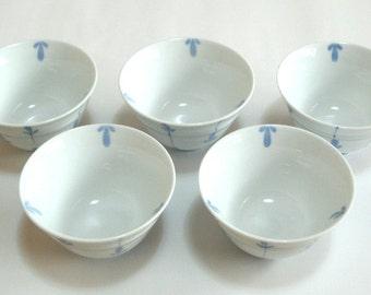 Japanese Porcelain Tea Cups Yunomi Sake Cups Guinomi Set of 5 Vintage Japanese Culture Japanese Art Asian Art Geisha