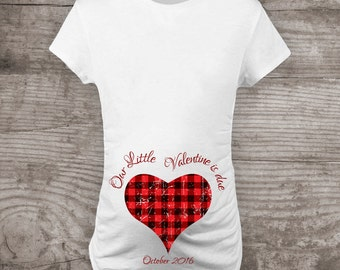 personalized valentines day maternity t shirt pregnancy announcement red black check plaid our little
