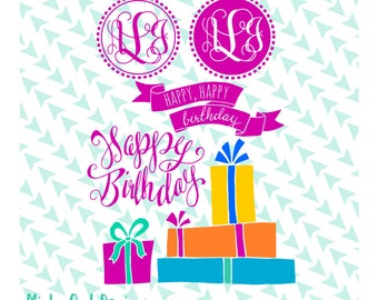 Birthday Pack SVG Cut File - Happy Birthday - Birthday Card - Balloons - Presents - Monogram Frame - Cricut - Silhouette - Instant Download