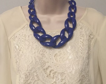 Navy Blue Chunky Chain Lucite Link Housewife Resin Statement Necklace Additional Colors Available