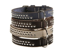 Leather Studded Dog Collar Black Blue Brown White Red 5 colors Medium Size S M Flat Sturdy Plain Heavy Duty Durable Dog Pet Fashion Classic