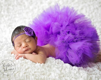 NEWBORN TUTU SET,Half Newborn Tutu, ,Purple Newborn Tutu and Headband Set, Baby Shower Gift,Photography Prop