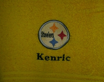 Steelers Football  Personalized Bath Towel  ANY COLOR