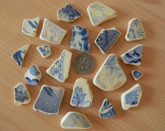 20 Genuine beach found pottery shards in blue and white