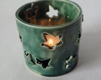 Green, porcelain, ivy leaf tea light holder