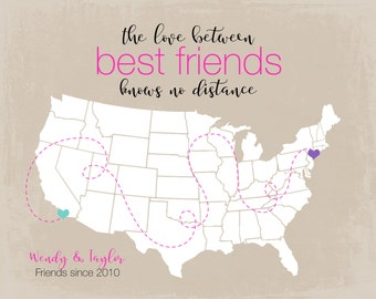 Cute Gifts for Best Friends Birthday Gift, BFF, Sister, Daughter, Besties Personalized Gift Art Print Map States, Popular Christmas Gifts
