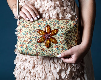 Free shipping Boho crossbody handbag Cotton and linen bag Embroidered handbag Beaded phone bag Yellow flower  cream beige boho bag