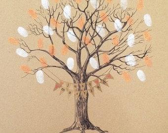 Wedding Fingerprint Tree- WITH BUNTING on KRAFT card