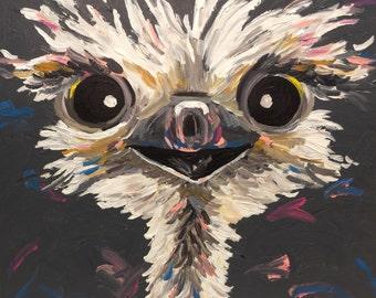 Ostrich art print from original canvas ostrich painting, colorful fun Ostrich