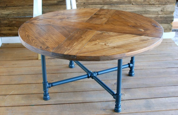 Round Pattern Industrial Coffee Table By Sumsouthernsunshine