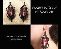 Earrings Red Stone contour dark brown macrame Jasper stylish boho chic simple original