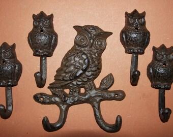 5) pcs, Owl wall hook, cast iron owl wall hook, cast iron wall decor, owl home decor, owl garden decor, free shipping,  H-56,H-43