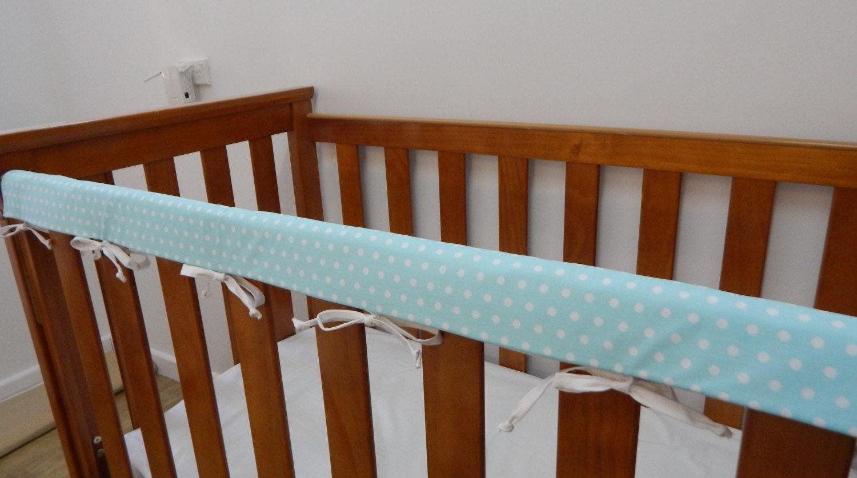 Baby Cot Crib Rail Cover Teething Pad White Spots On Aqua Also