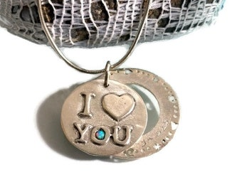 Charm pendant, sterling silver, Love necklace, heart necklace, Heart charm necklace, I love you necklace, personalized necklace, gift to her