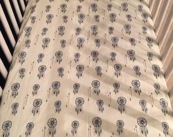 dreamcatcher fitted crib sheet//crib sheet//dreamcatcher baby bedding//dreamcatcher crib sheet//boho baby bedding