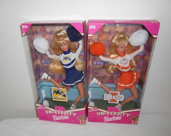 Barbie University Cheerleaders/University of Michigan, Wisconsin, Illinois or Tennessee/New in Box/Never Displayed!