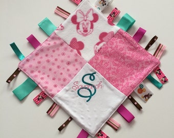 """PERSONALIZED Baby Sensory Ribbon Security Blanket Lovey with Tags 12"""" X 12"""" Mouse inspired"""