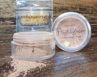 Professional Mineral Makeup Contouring Kit - Highlighter & Matte Bronzer - Blush - All Natural - Flawless - Women - Sculpt - Makeup Artist