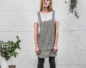 Short square cross linen apron/japanese style apron. No ties apron. Stripes