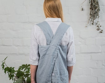 Pinafore / Square cross linen apron / Japanese style apron / Washed long linen apron / No ties apron in bluish grey