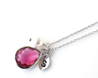 July birthstone necklace,  Personalized ruby necklace, Birthstone jewelry, Birthday gift, Bridesmaid gift, Wedding jewelry, July necklace