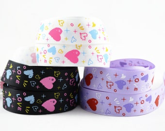 "3 yards of 1"" (25mm) LOVE Grosgrain Ribbon, Colors Available : Black, Purple and White"