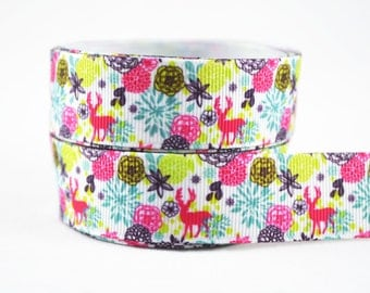 "3 yards of 7/8"" (22mm) In the Forest Grosgrain Ribbon"
