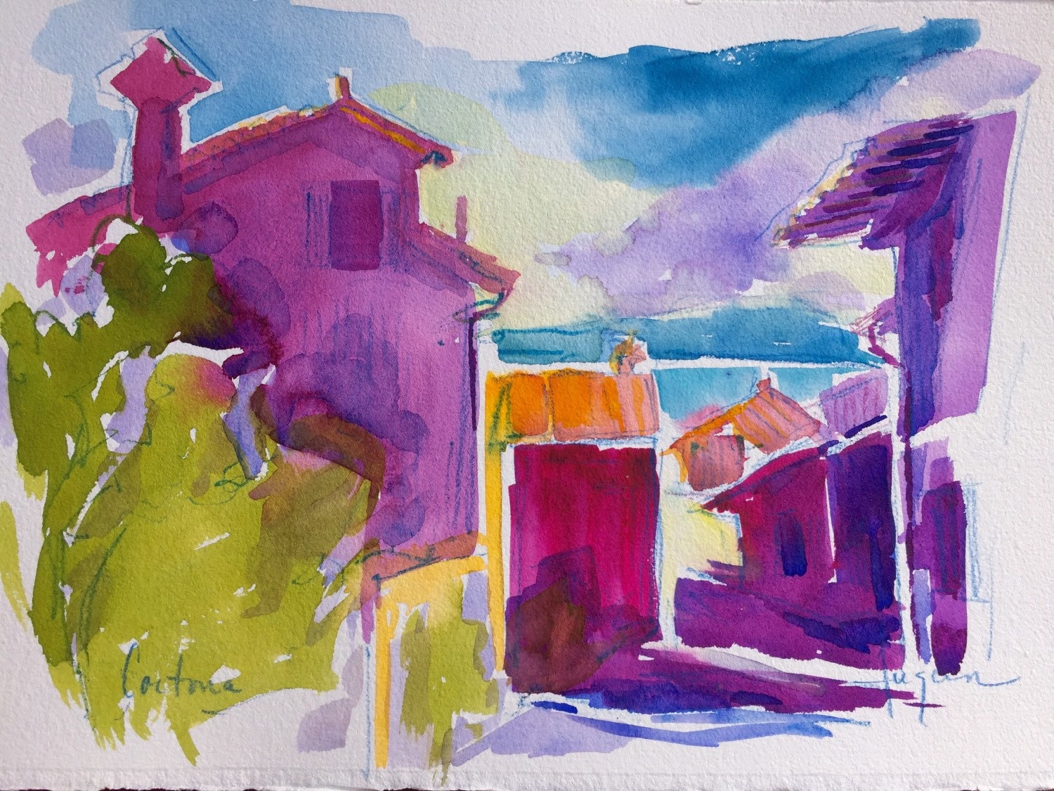 Tuscany Village Scene Original Watercolor by DFCollection ...