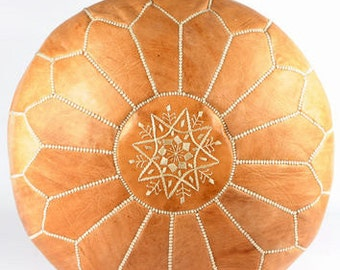 Sale- Light Tan Leather Moroccan Pouf/Ottoman- Sold UN-STUFFED-2 DAY Delivery