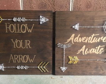 Inspirational Handpainted Arrow String Art Wood Sign Set Wall Art Home Decor, Nursery, Kid's Room