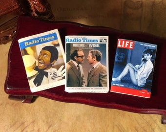 Magazines, Radio Times, Life Magazine, Dollhouse Miniature, Retro, Lounge, Living room, T.V, 1950's, 1960's