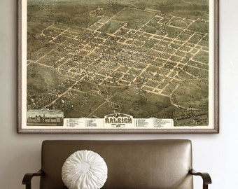 "Raleigh map 1872, Old map of Raleigh, NC, Poster in 4 sizes up to 48x36"" Vintage bird's eye view map of Raleigh - Limited Edition of 100"